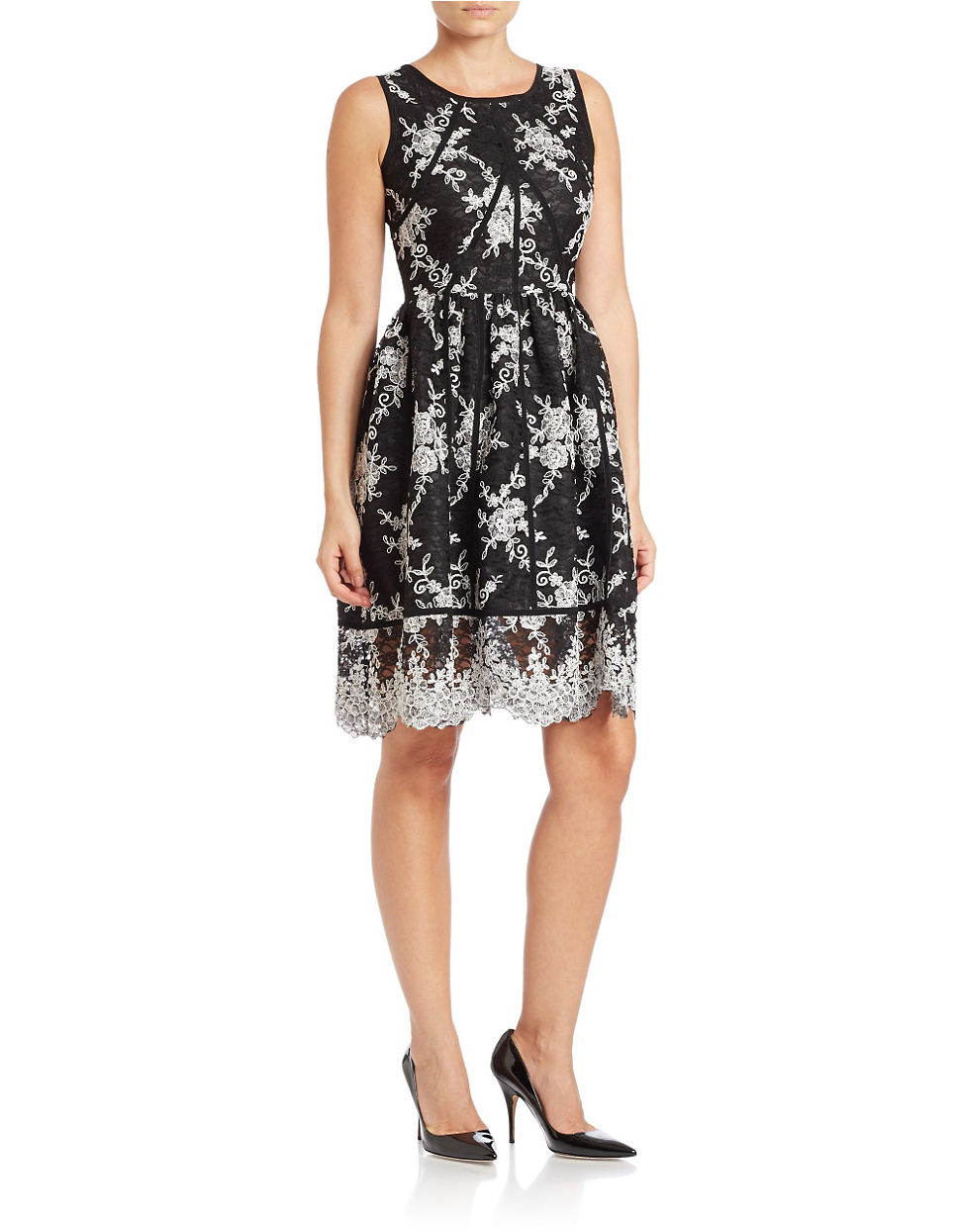 Calvin Klein Floral Lace Sleeveless Fit Flare Dress In