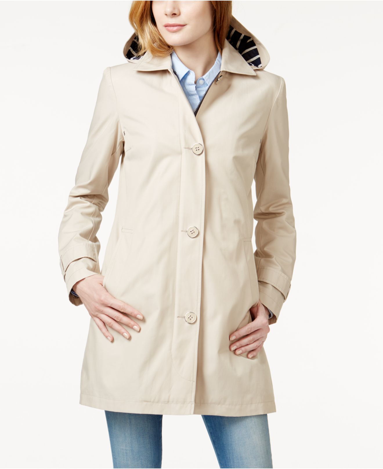 Tommy Hilfiger Hooded A Line Coat In Natural Lyst