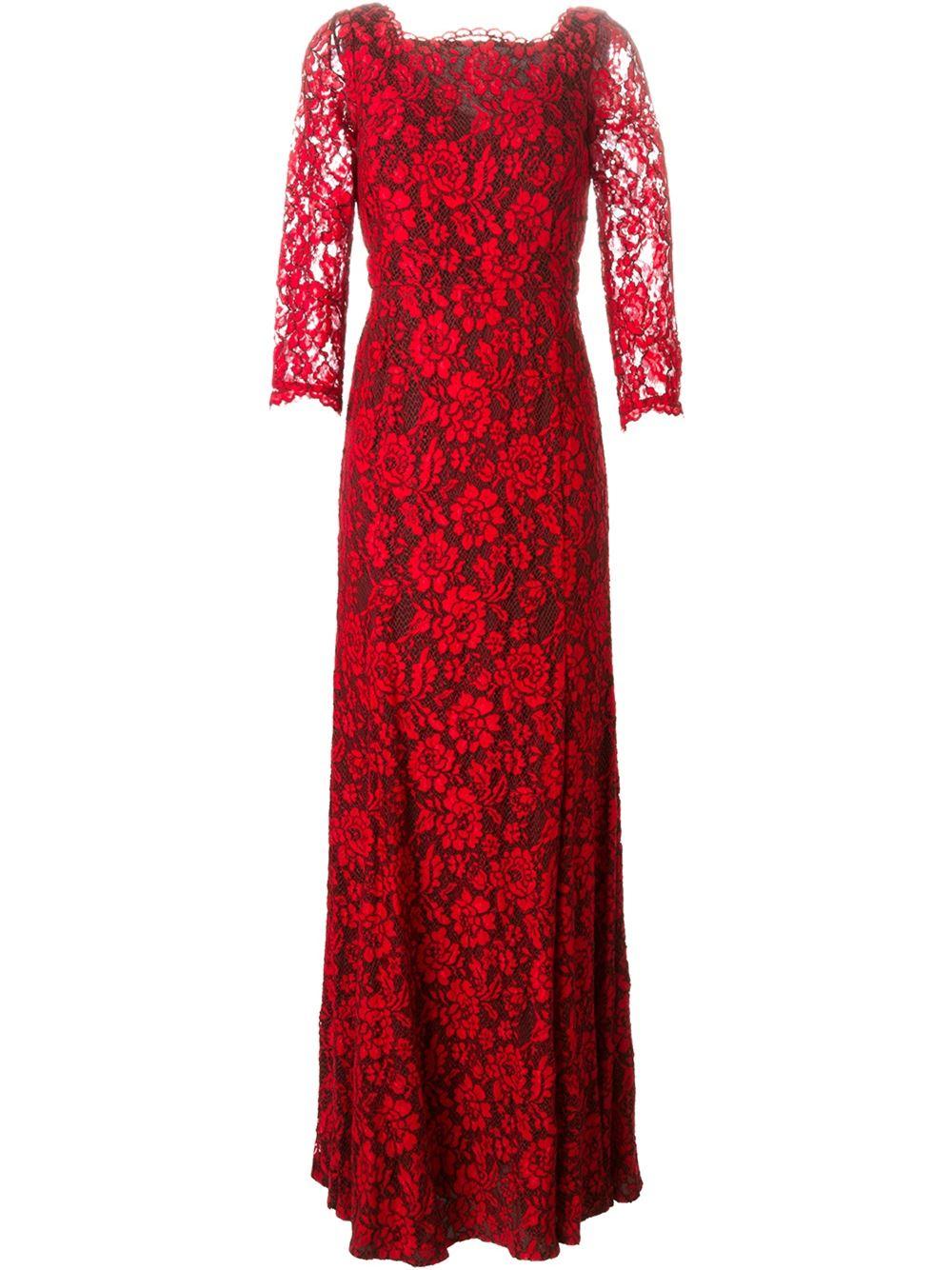 Lyst - Diane Von Furstenberg Floral Lace Evening Dress in Red