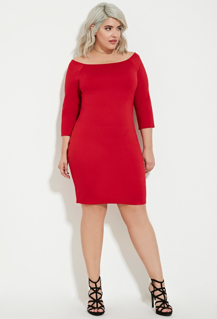 Forever 21 Plus Size Off-the-shoulder Bodycon Dress in Red - Lyst