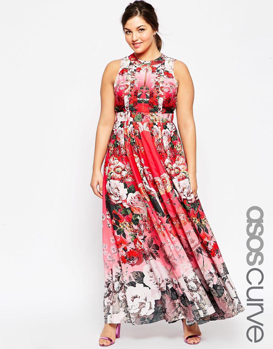 Lyst - Asos Salon Fading Floral Print Maxi Dress