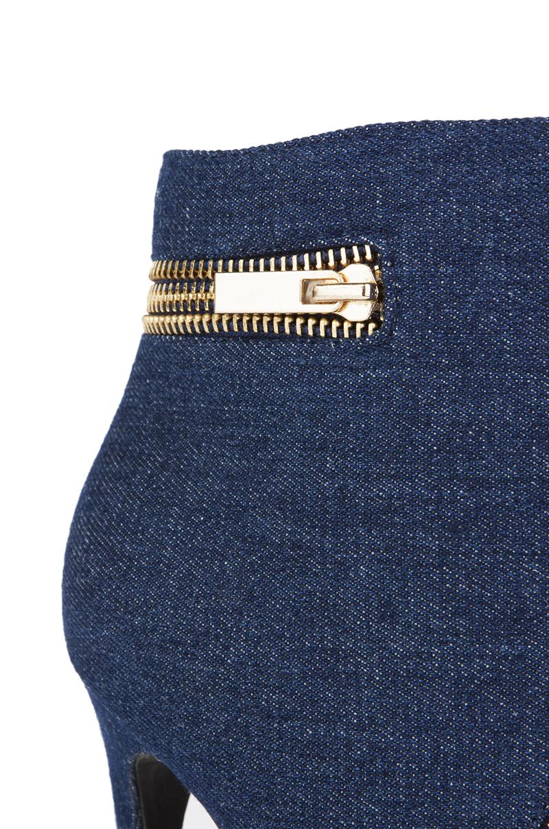 AKIRA Lea Denim Zipper Bootie in Blue