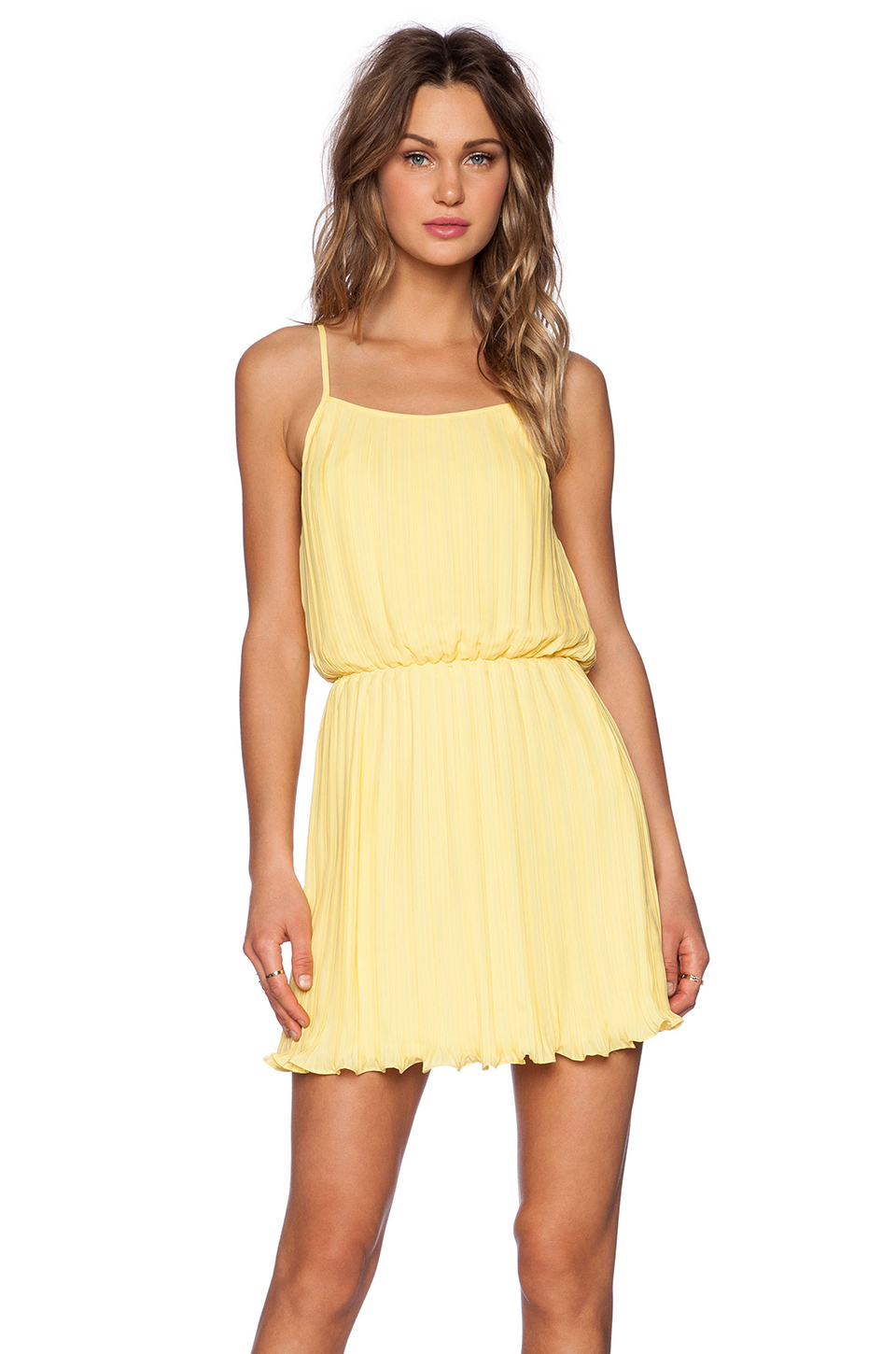 Blaque Label Pleated Tank Dress In Yellow | Lyst