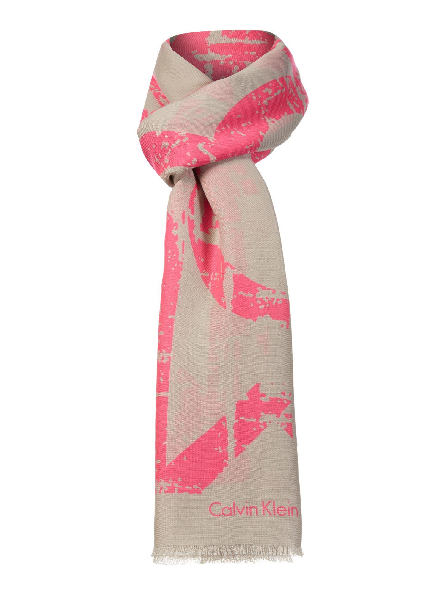 calvin klein neon scarf in pink lyst