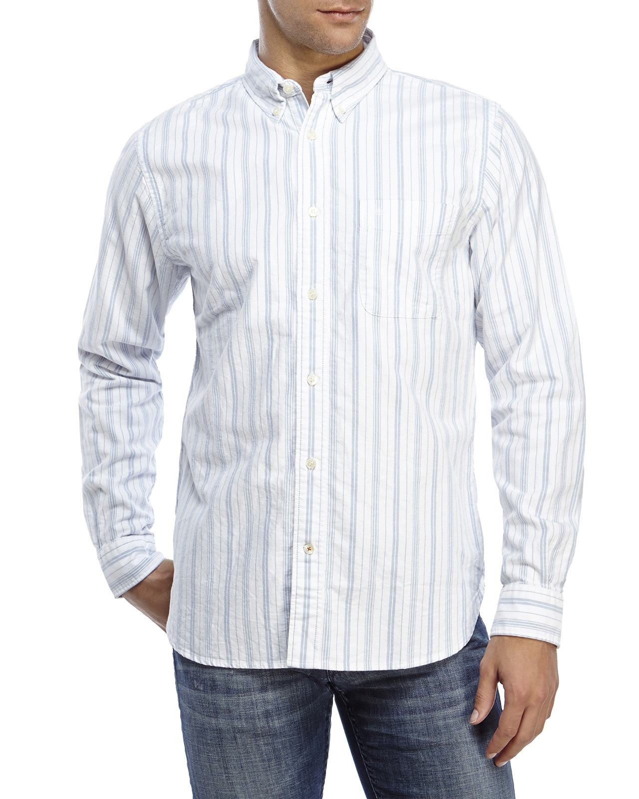 300e40181854 Dockers Striped Oxford Button-Down Shirt in Blue for Men - Lyst