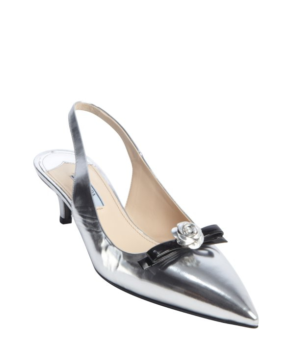 Lyst Prada Silver And Black Metallic Leather Slingback