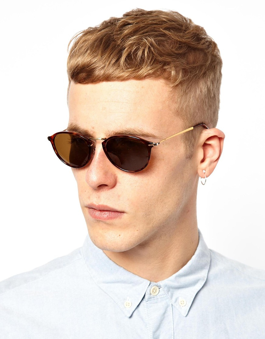 27c332b7d9 Lyst - Persol Round Sunglasses in Brown for Men