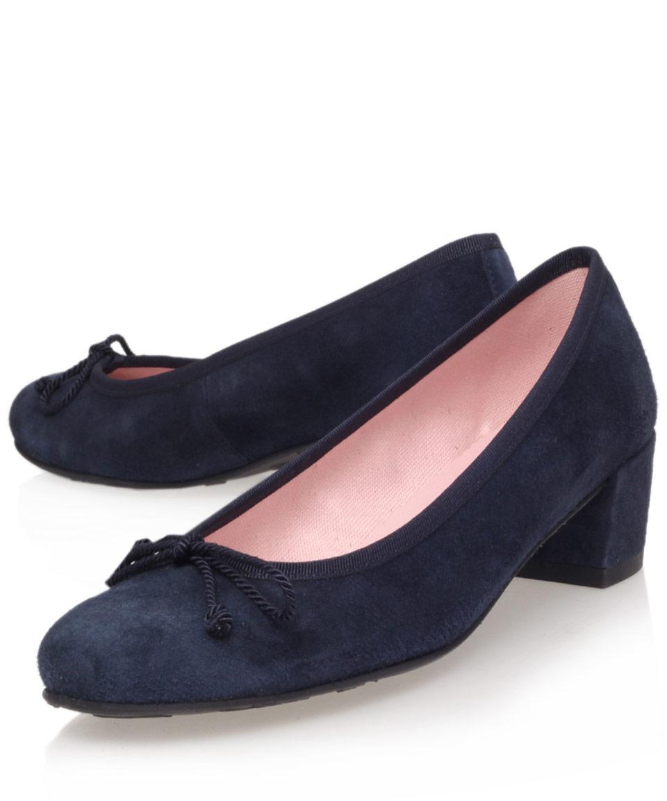Pretty Ballerinas Navy Suede Block Heel Court Shoes In