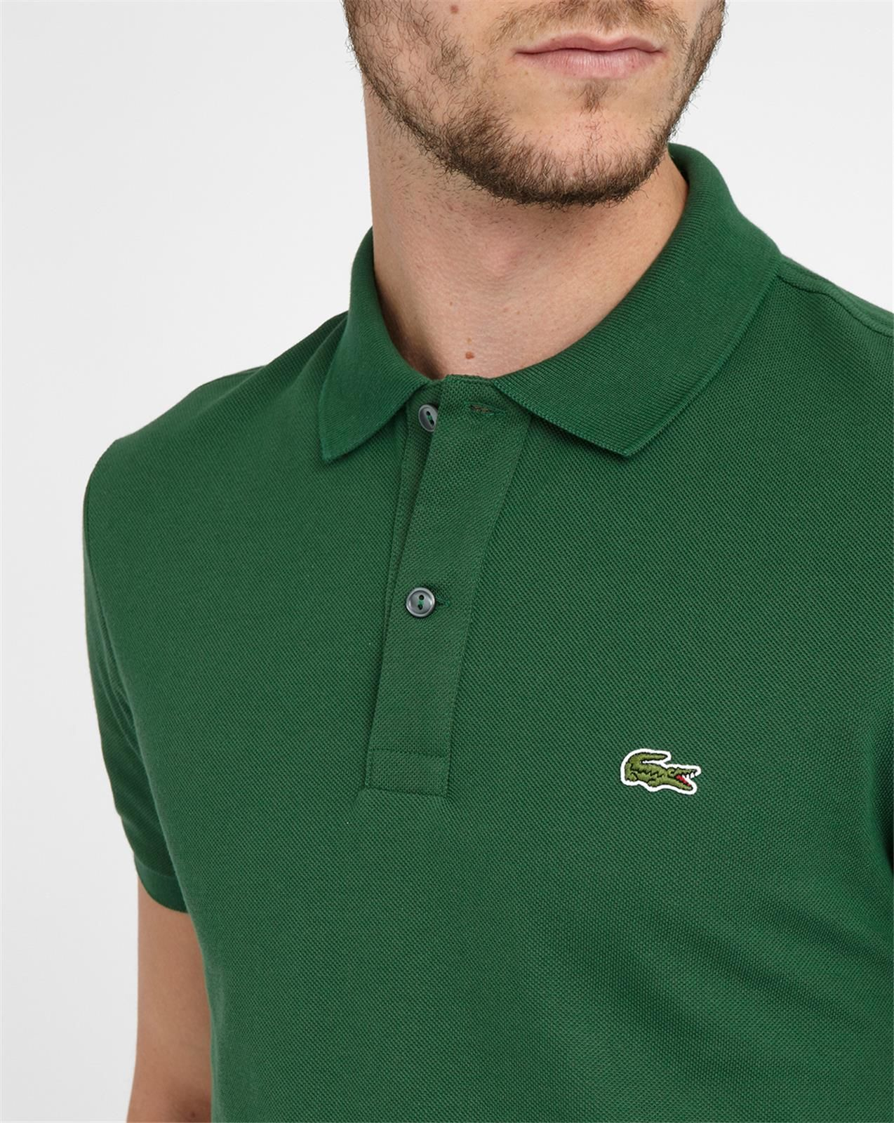 lacoste green logo short sleeve slim fit polo shirt in. Black Bedroom Furniture Sets. Home Design Ideas