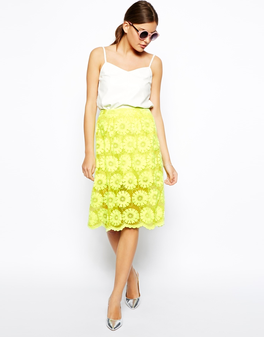 Asos Midi Skirt In Floral Lace in Yellow | Lyst