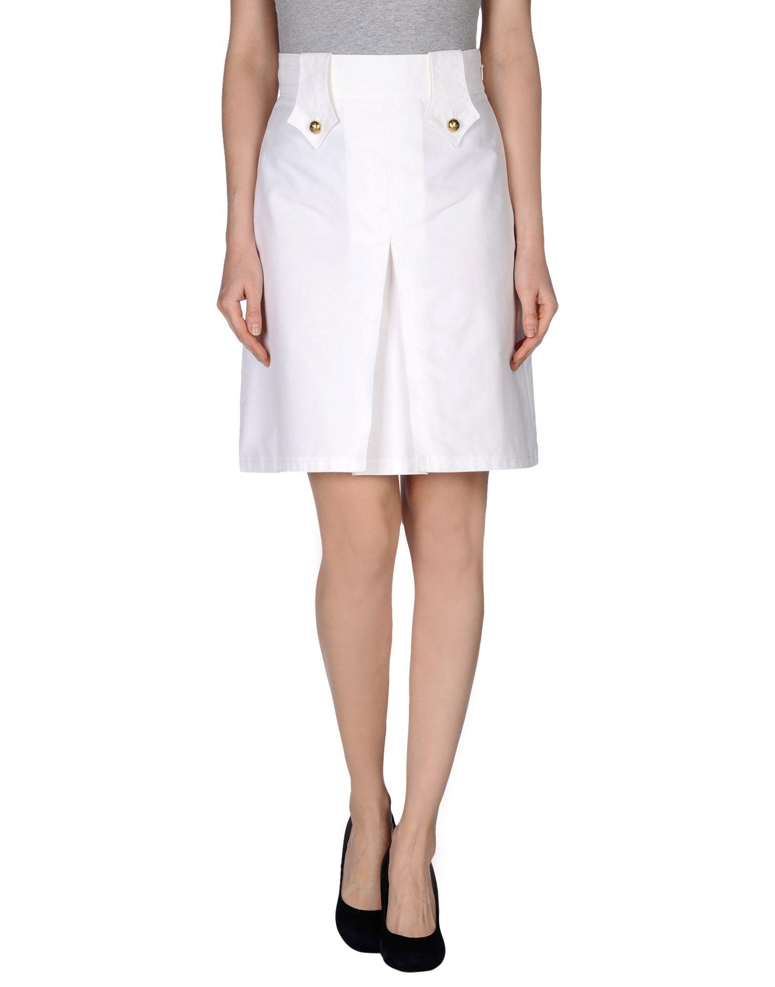 gucci knee length skirt in white lyst