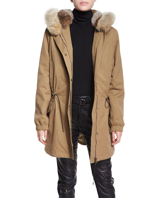 Vince Fur-lined Parka Coat in Natural   Lyst