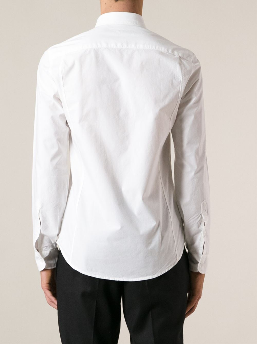 KENZO Button Down Collar Shirt in White for Men