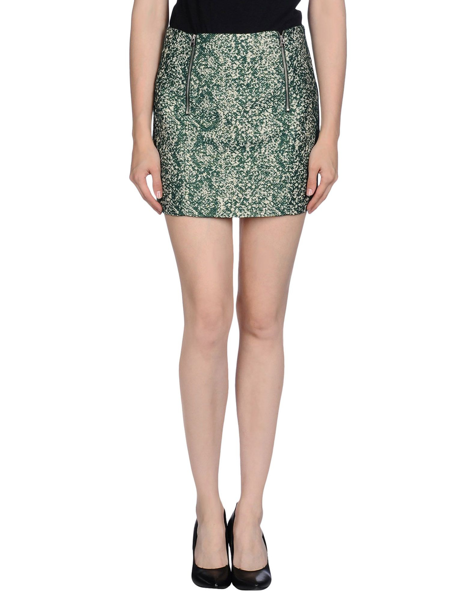 m grifoni denim mini skirt in green lyst
