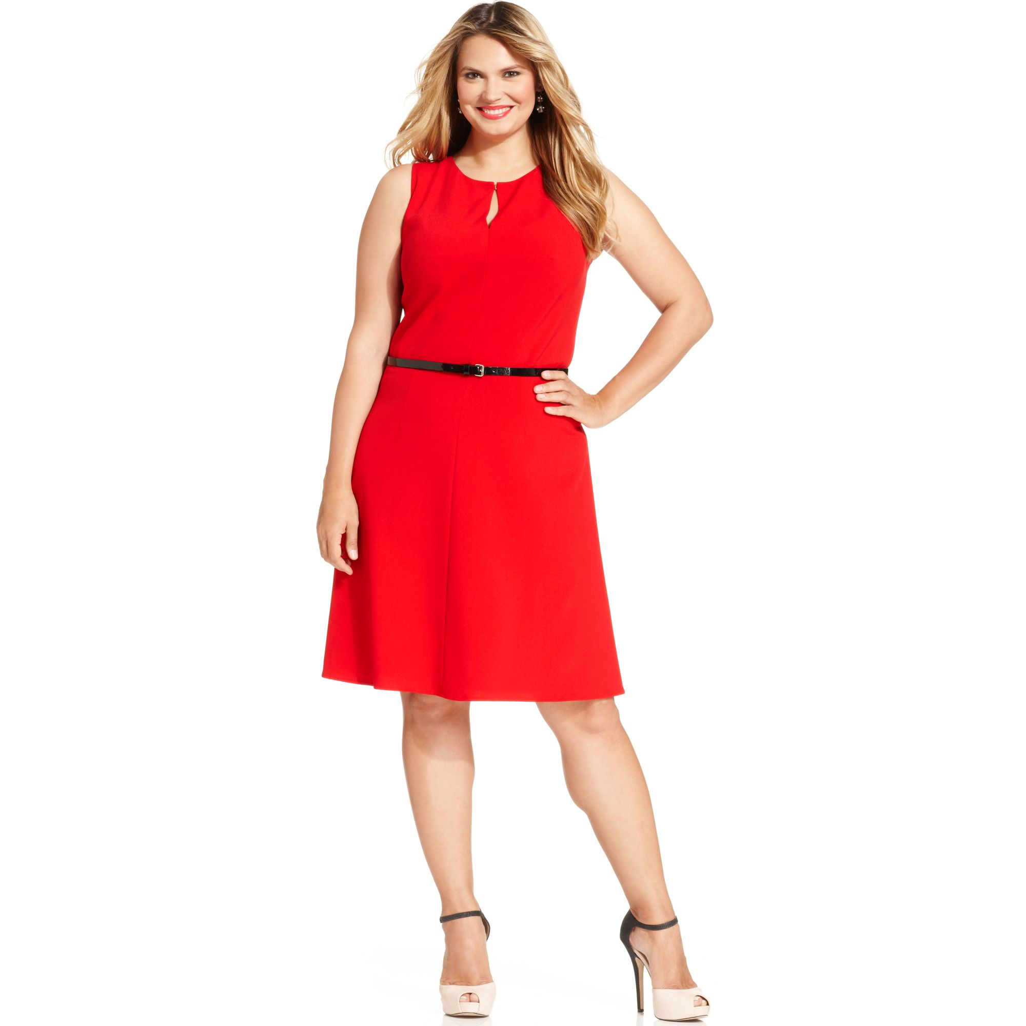 Calvin klein Plus Size Belted Keyhole Dress in Red   Lyst