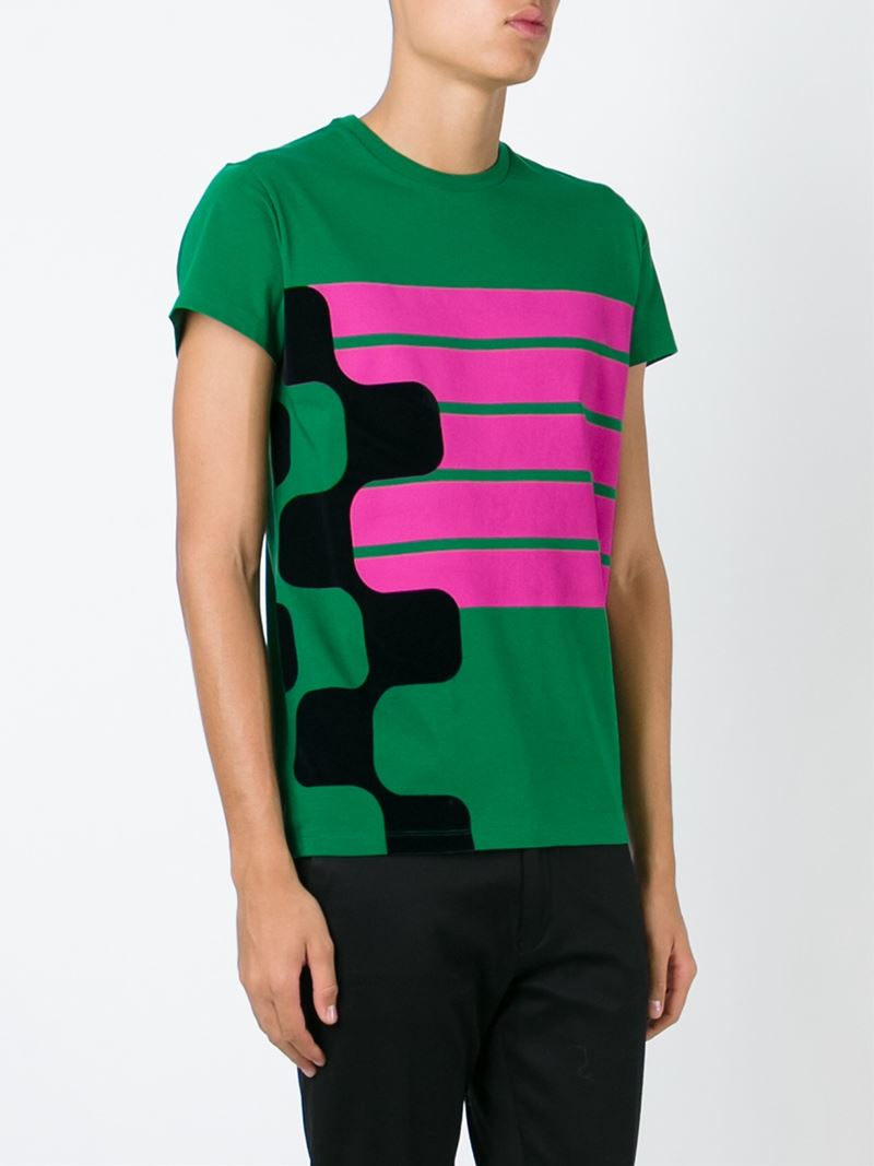 Lyst jil sander printed t shirt in green for men for Jil sander mens shirt