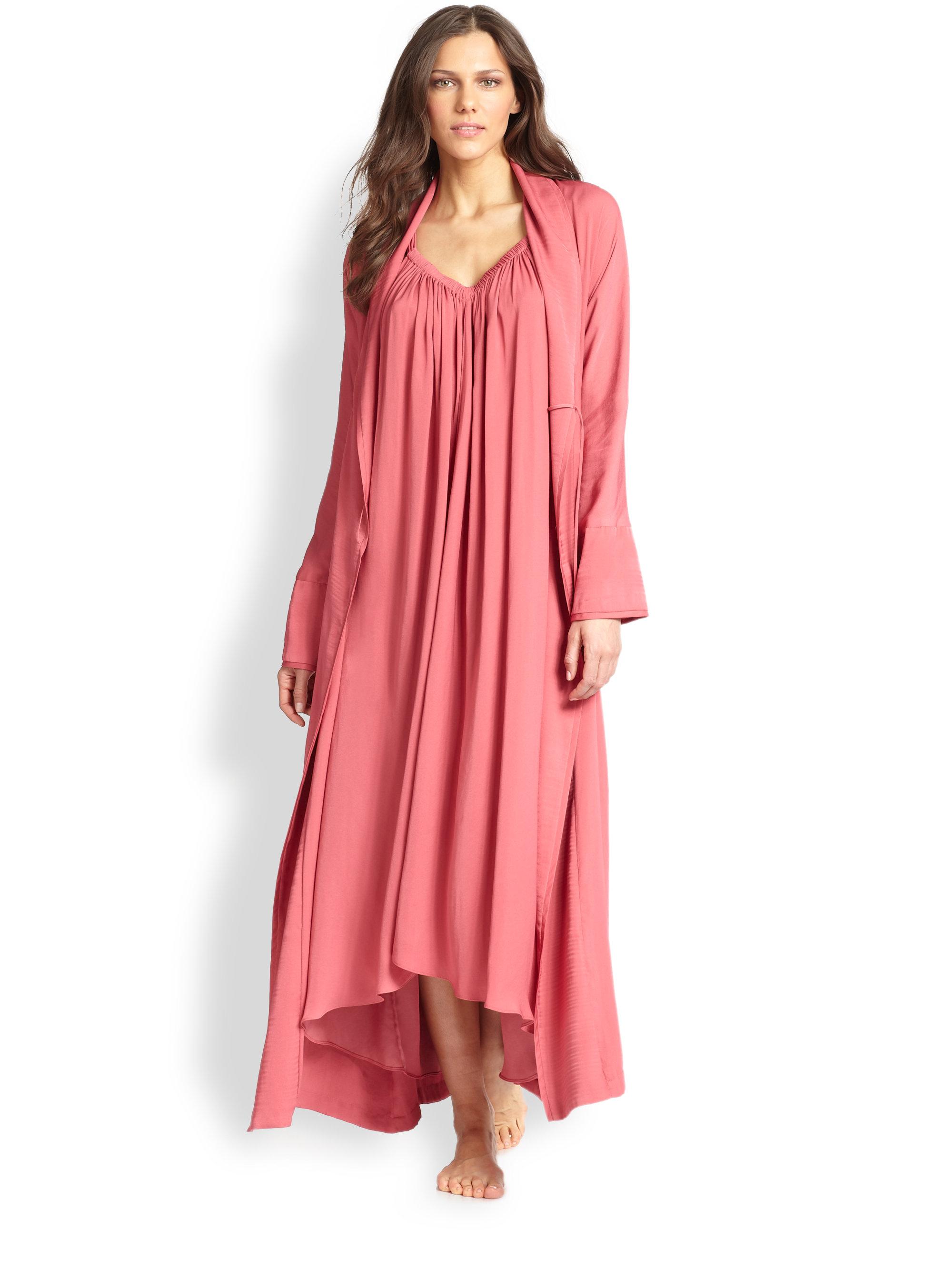 Lyst Donna Karan Silk Crepe Long Robe In Pink