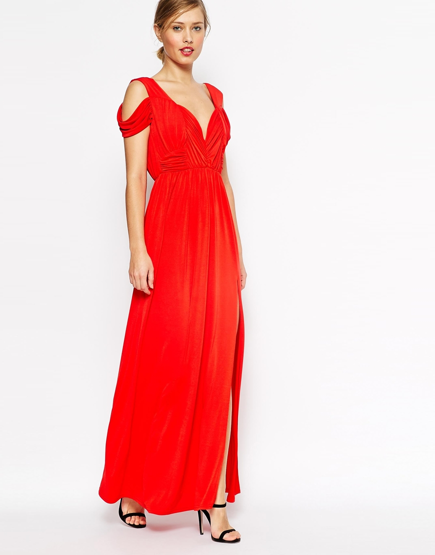 Asos tall wedding drape cold shoulder maxi dress in red lyst for Tall dresses for weddings
