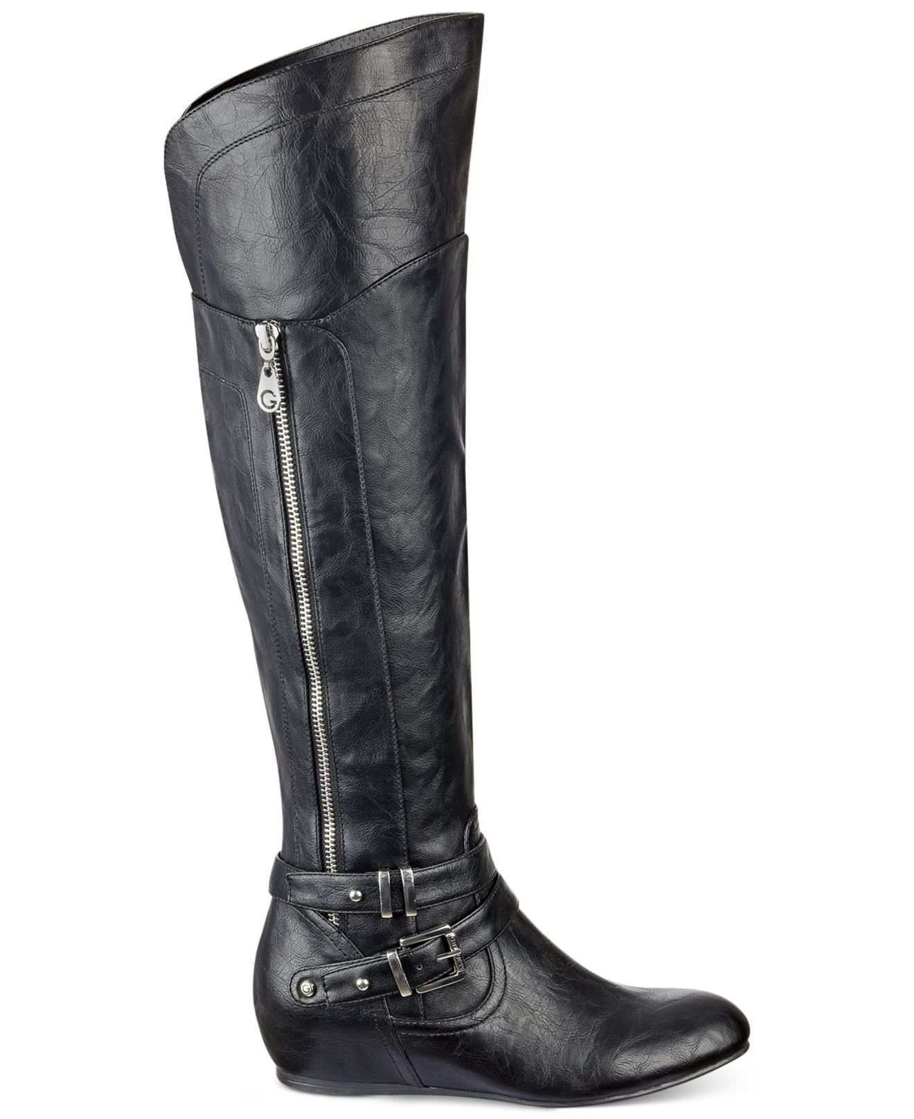g by guess gaines knee high wedge boots in black lyst