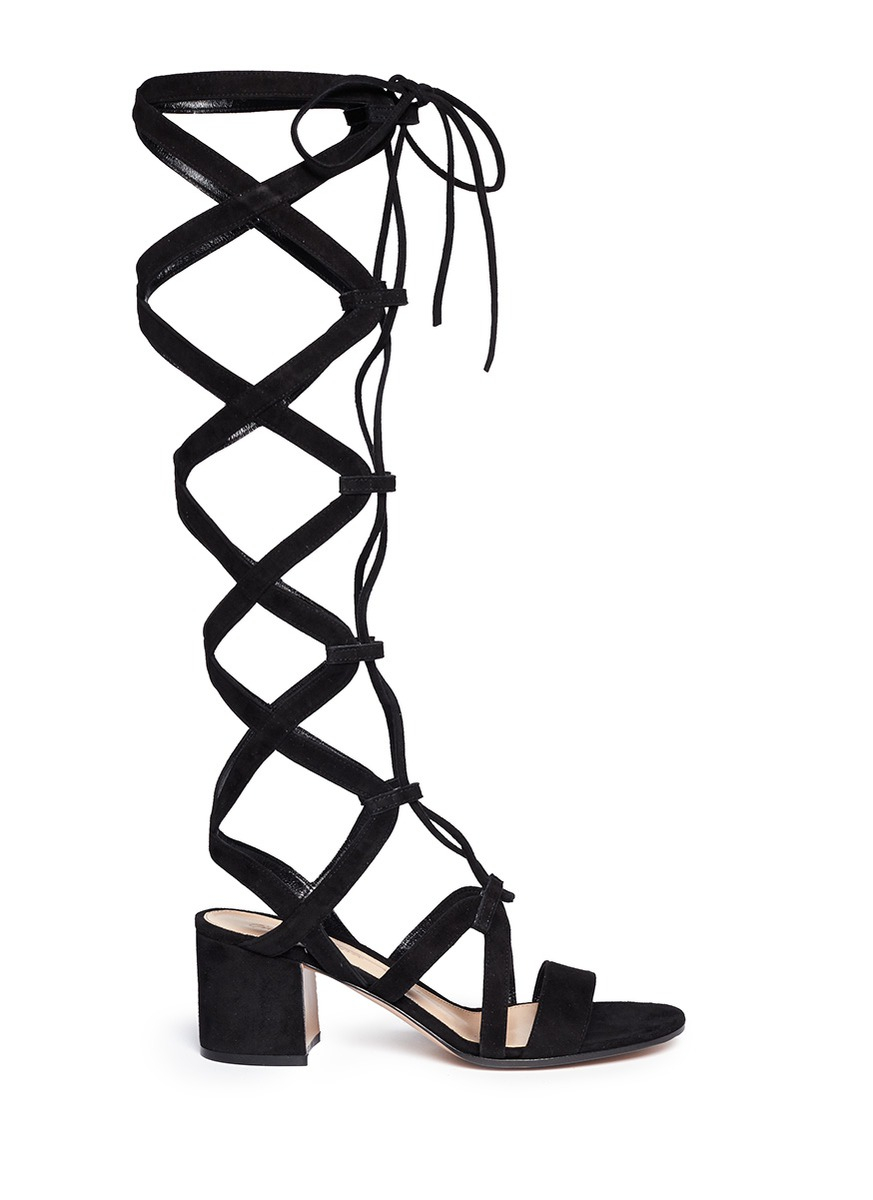 e537775e92fd8 Gianvito Rossi Suede Knee High Lace-Up Gladiator Sandals in Black - Lyst