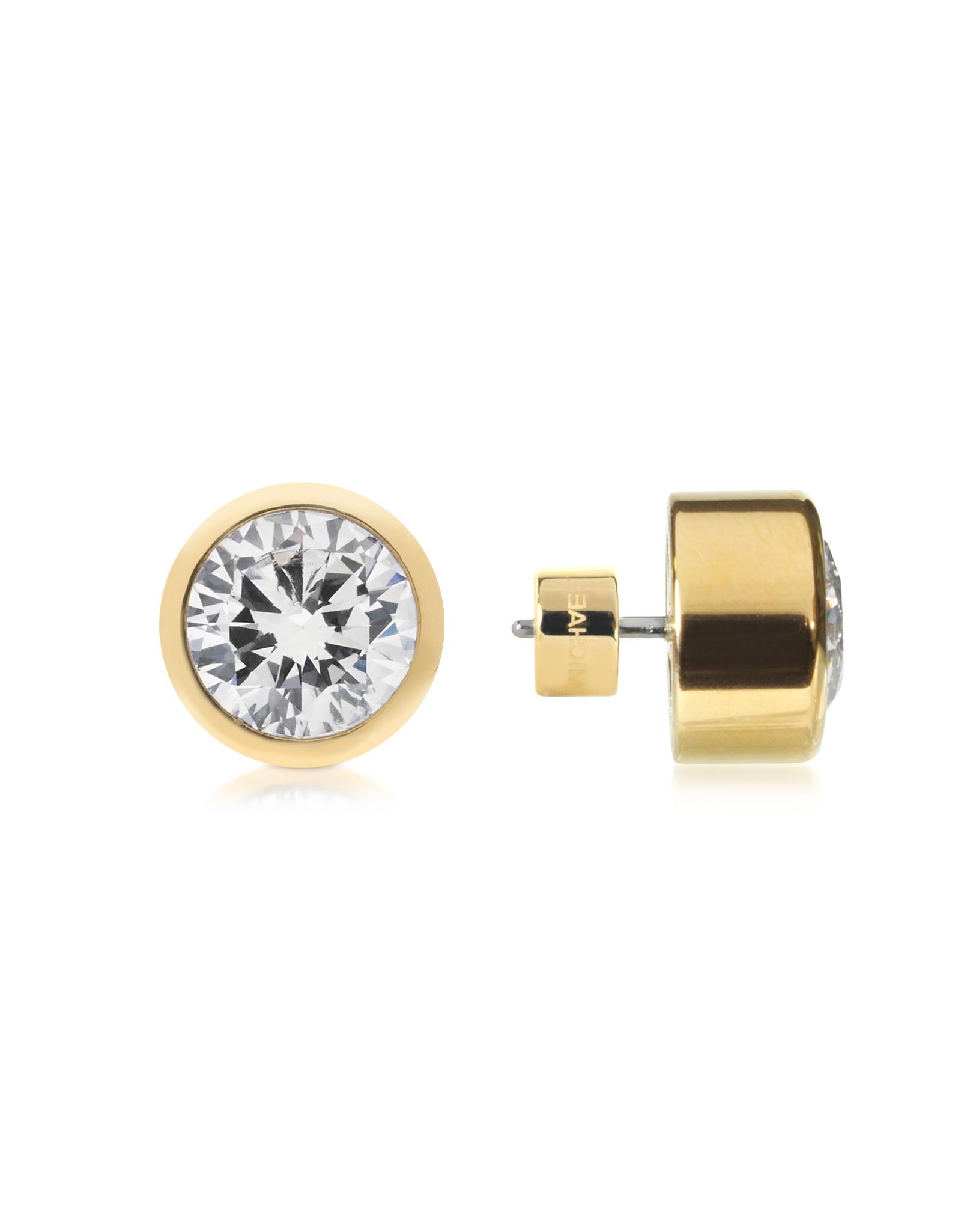 5010069426f85 Michael Kors Pink Brilliance Metal And Crystal Stud Earrings