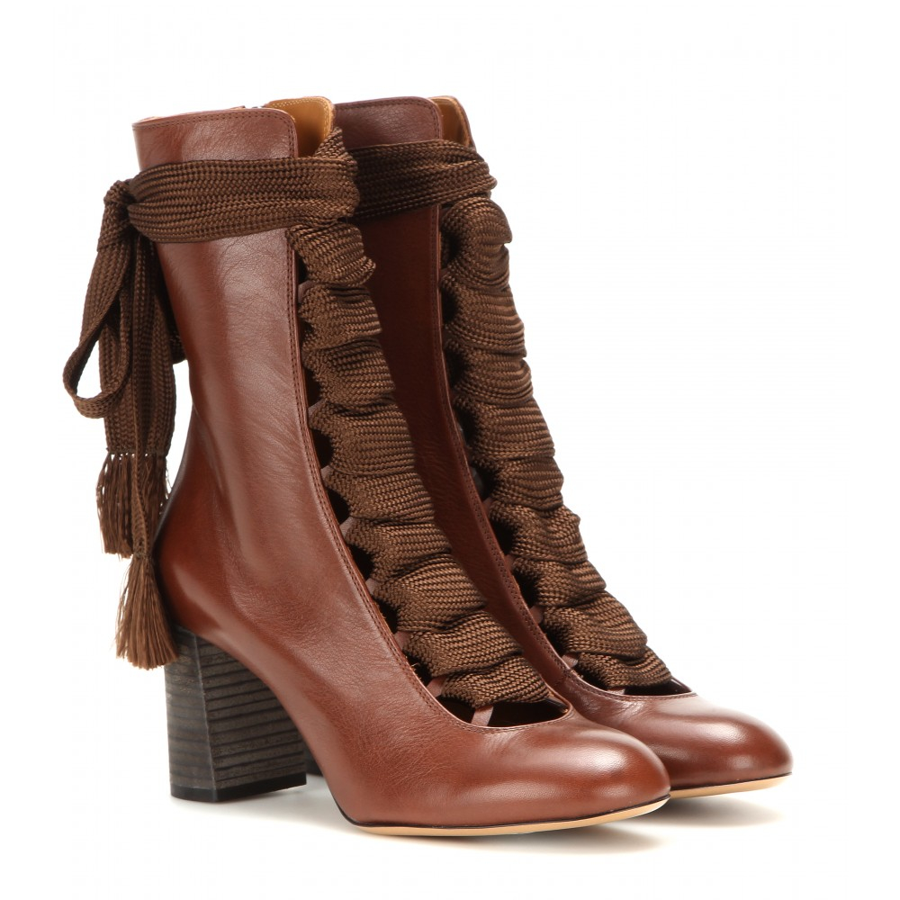 chlo leather boots in brown lyst. Black Bedroom Furniture Sets. Home Design Ideas