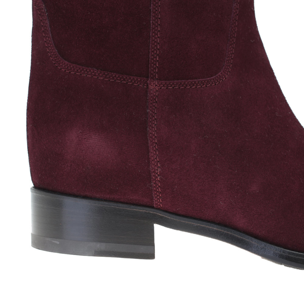 Santoni Burgundy Suede Boots in Red