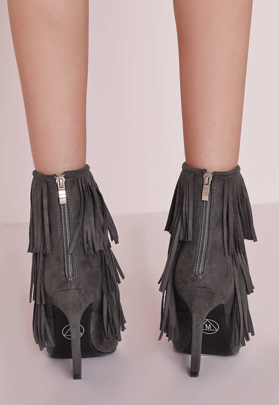 Missguided Fringed Trim Ankle Boots Grey in Grey
