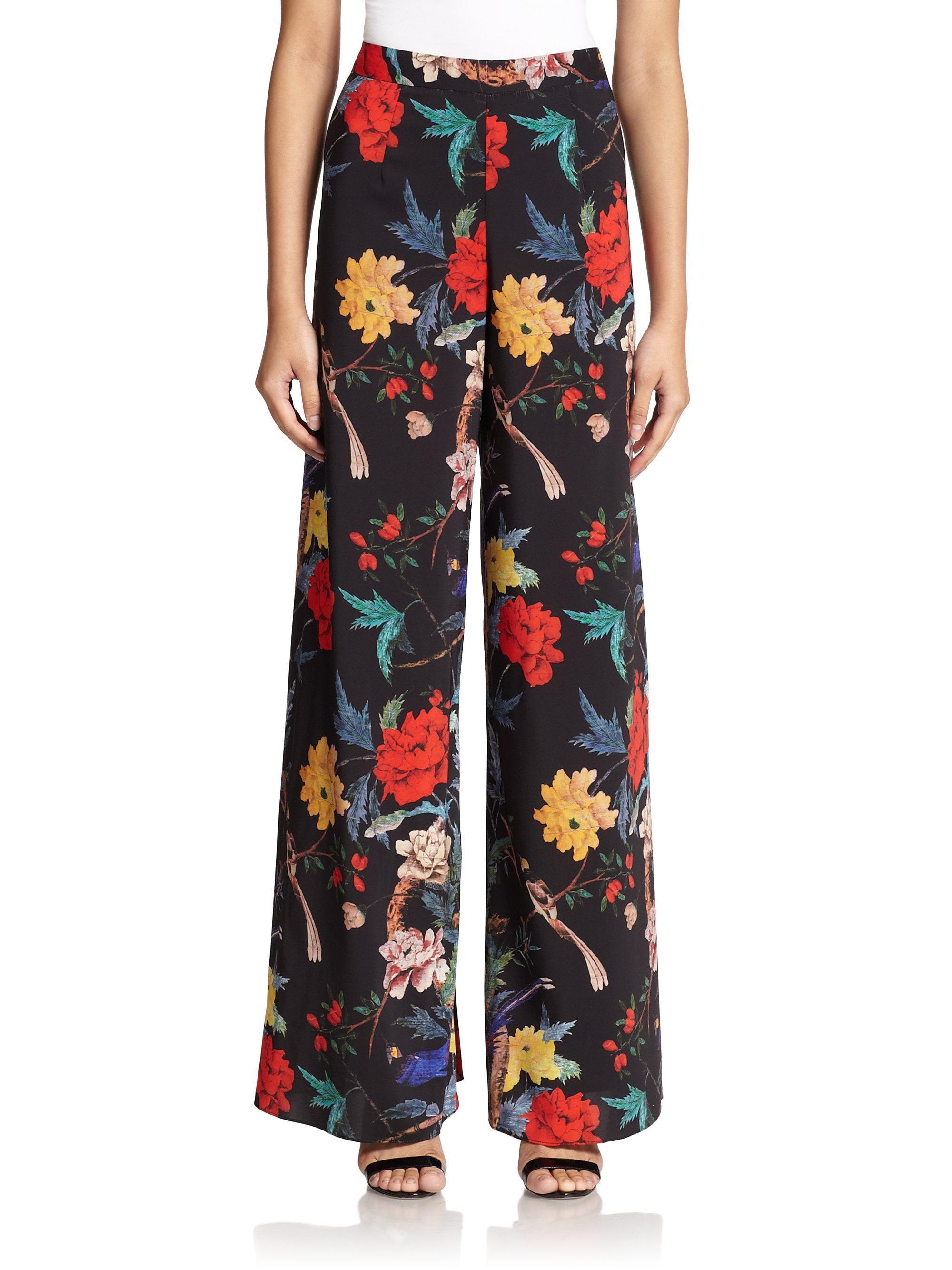 Lela Rose Maggie High-Waist Wide-Leg Floral-Print Pants Details Lela Rose