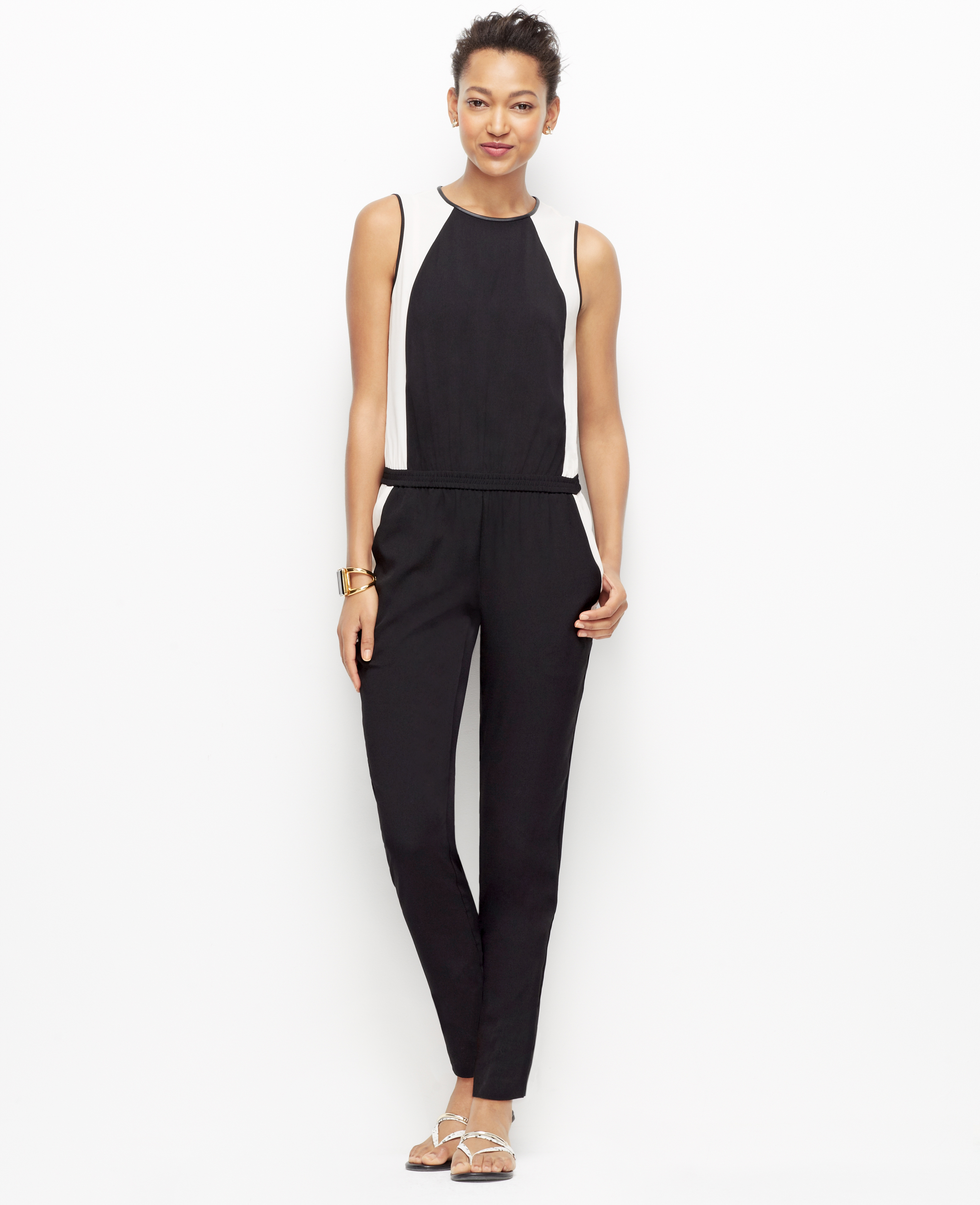 Lyst Ann Taylor Colorblock Jumpsuit In Black Anime Culottes