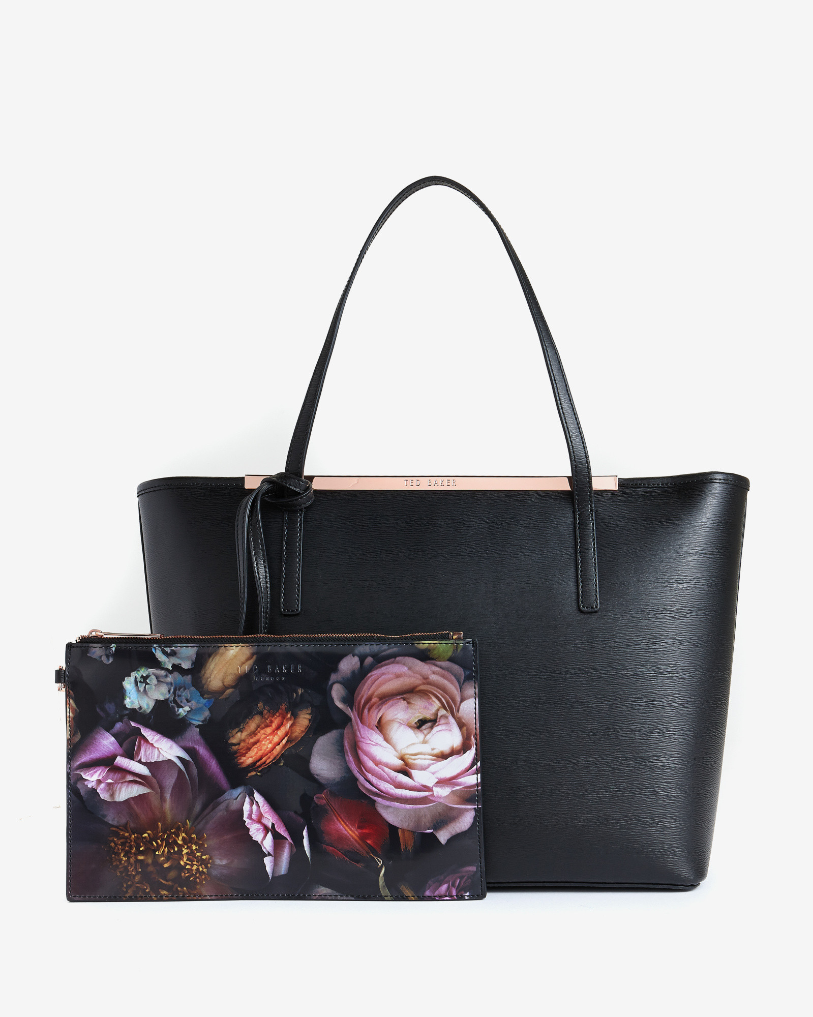 ted baker black large crosshatch leather shopper bag lyst. Black Bedroom Furniture Sets. Home Design Ideas