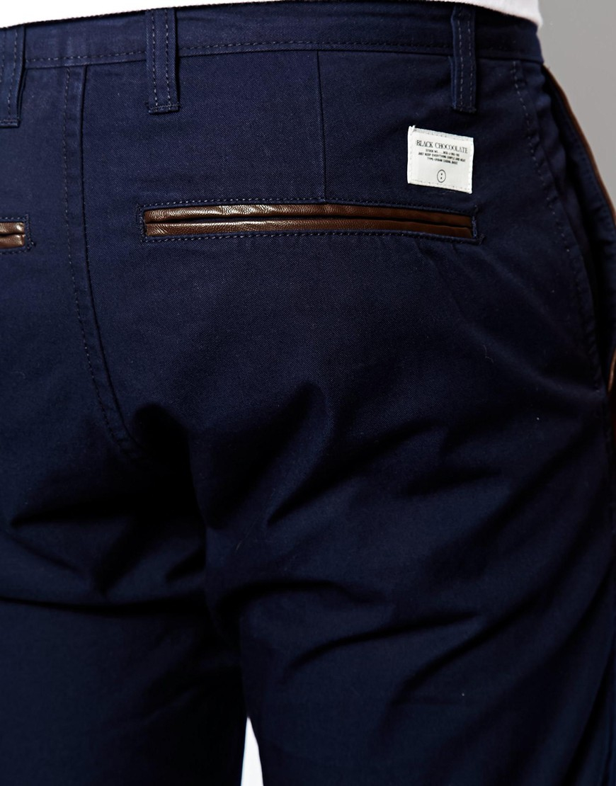 Dropsnatch Blue Black Marble: Chocoolate Black Chinos With Drop Crotch In Blue For Men