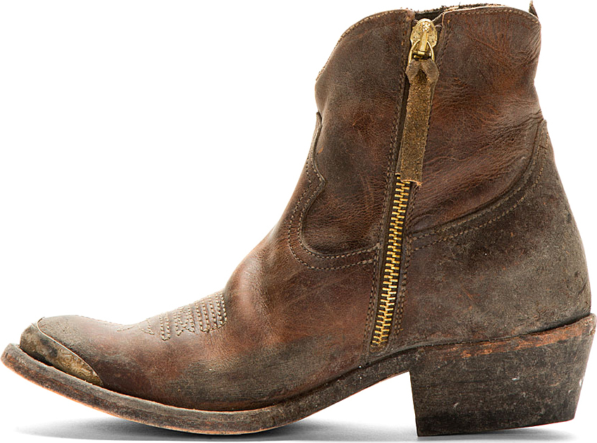 Fonkelnieuw Golden Goose Deluxe Brand Burgundy Leather Distressed Young Boots NS-77
