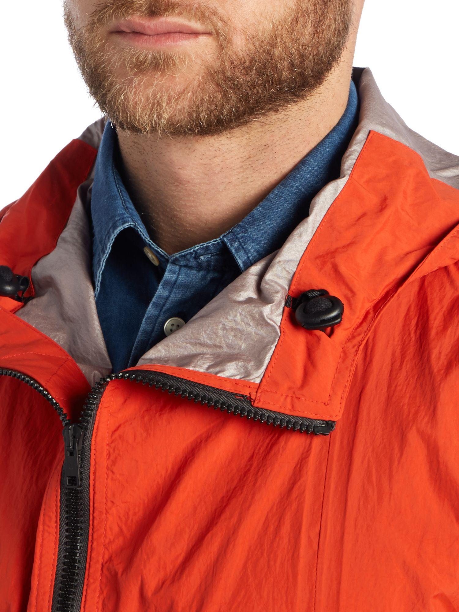 Paul Smith Denim Zip Hooded Waterproof Jacket in Red for Men