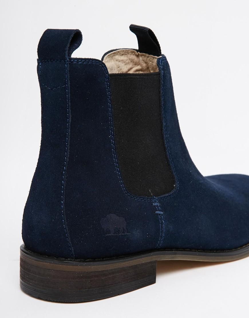 8b1c91774f9 Bellfield Blue Suede Chelsea Boots for men