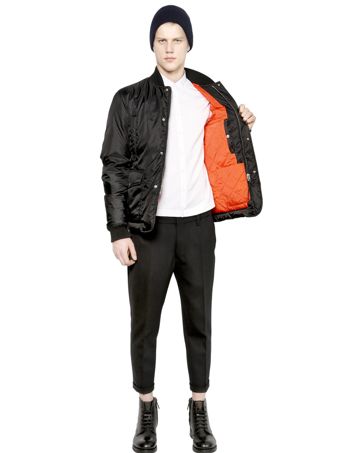 Dsquared² Reversible Nylon Down Bomber Jacket in Black for Men | Lyst