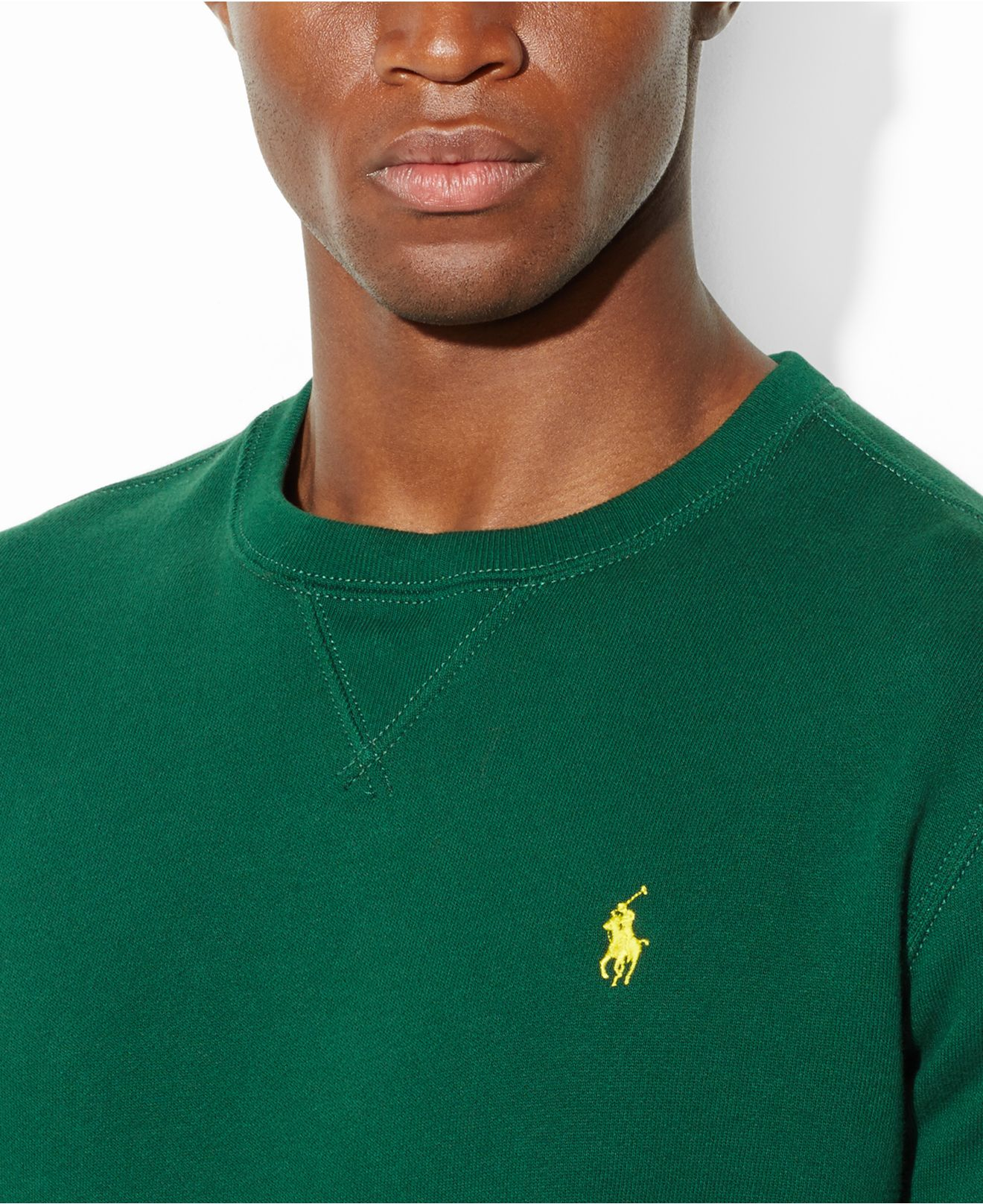 Green For Ralph Crew Neck Men Classic Lauren Polo Fleece Sweater 9WEIYDH2