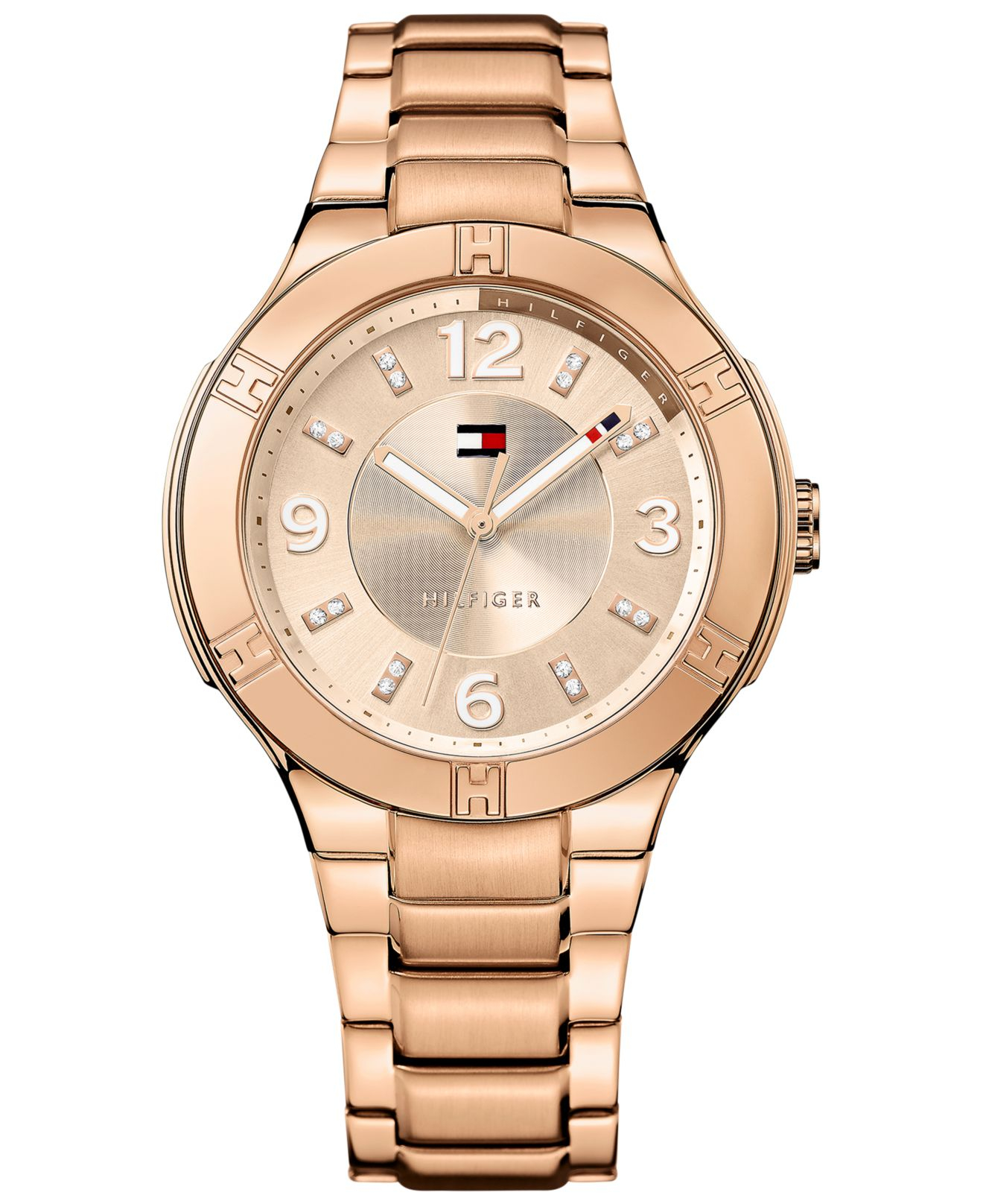 lyst tommy hilfiger women 39 s rose gold ion plated stainless steel bracelet watch 39mm 1781445. Black Bedroom Furniture Sets. Home Design Ideas