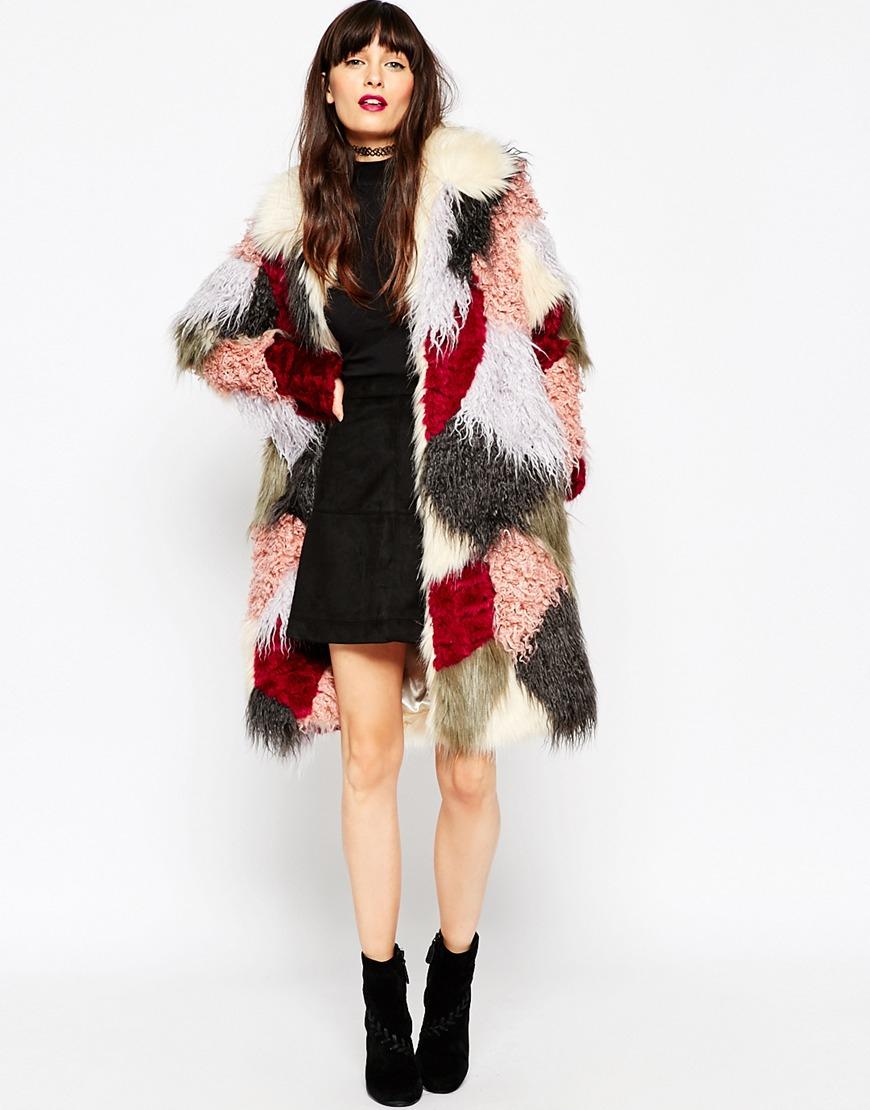 asos swing coat in patchwork faux fur lyst. Black Bedroom Furniture Sets. Home Design Ideas