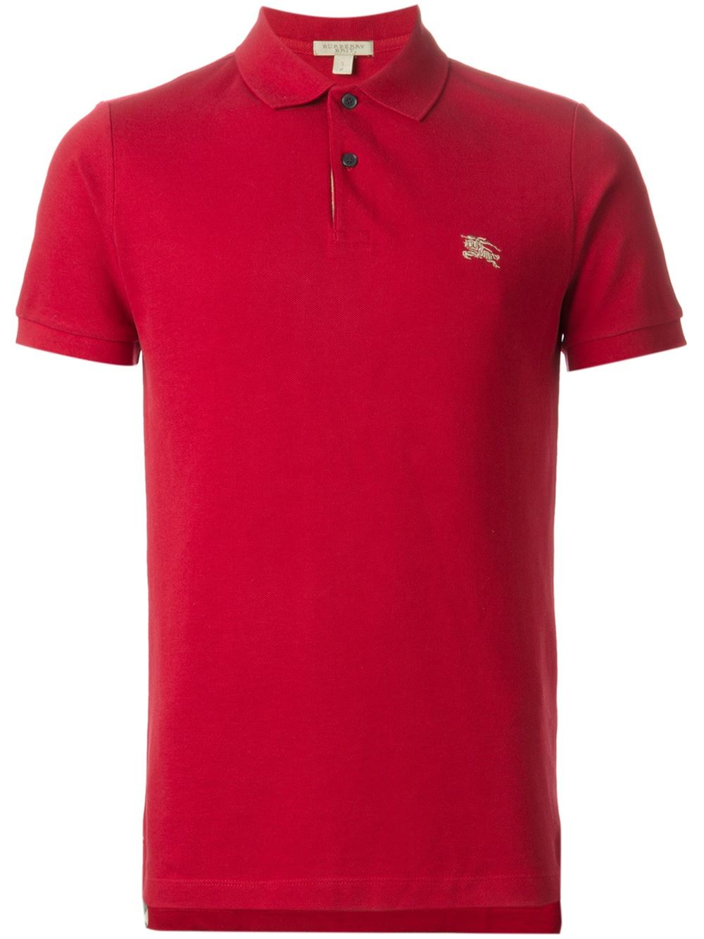 Burberry brit logo embroidered polo shirt in red for men