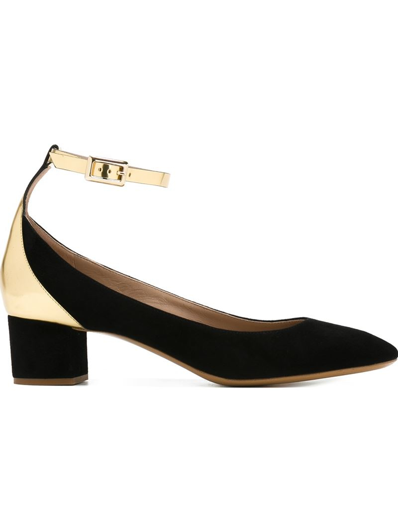 7c6752289cc6 Chloé Metallic-Detail Suede and Leather Pumps in Black - Lyst