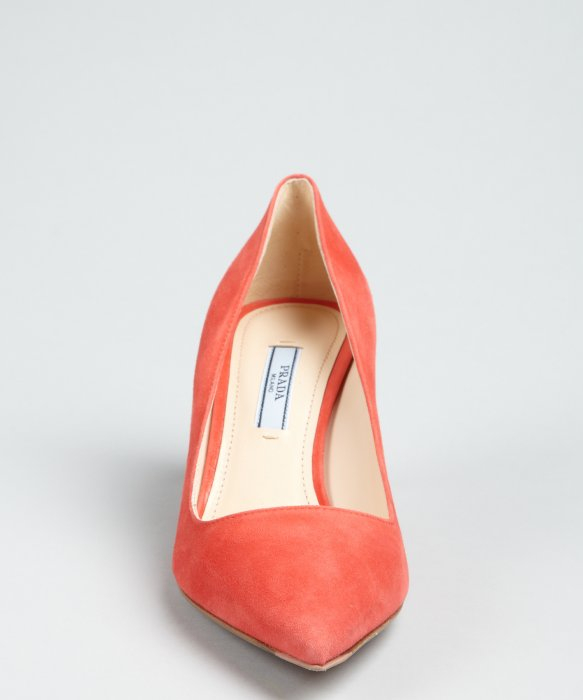 Lyst Prada Coral Suede Pointed Toe Pumps In Orange