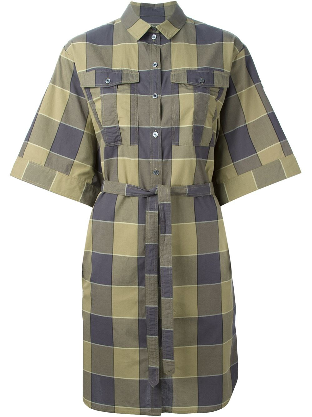 Burberry brit check print shirt dress in green lyst for Burberry brit checked shirt
