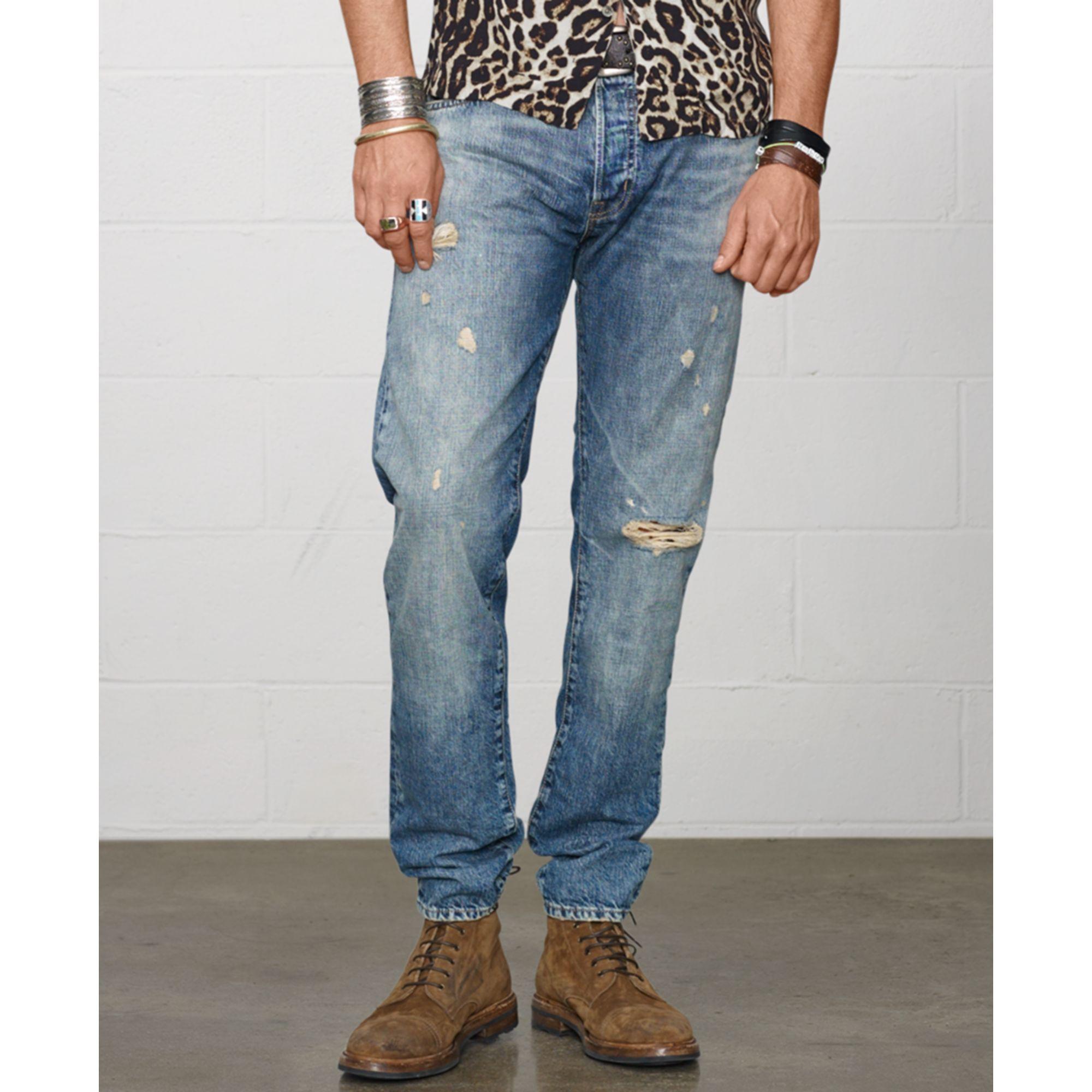 lyst denim supply ralph lauren tapered straight jeans in blue for men. Black Bedroom Furniture Sets. Home Design Ideas