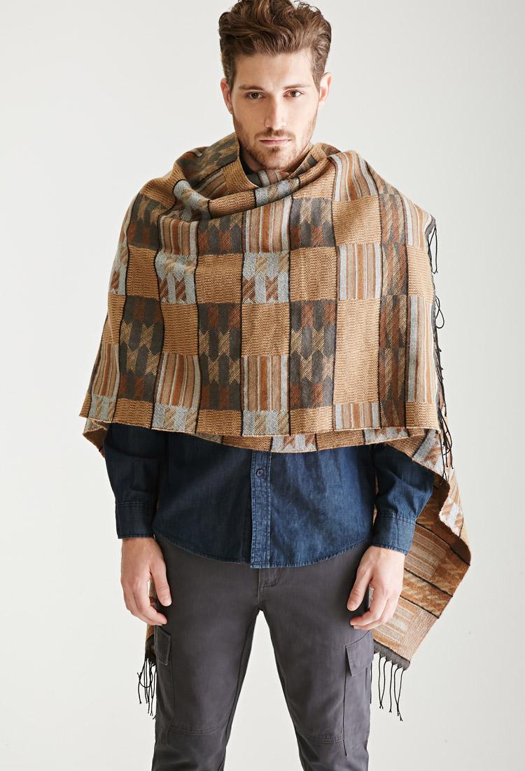 Lyst - Forever 21 Southwestern-inspired Poncho in Brown for Men