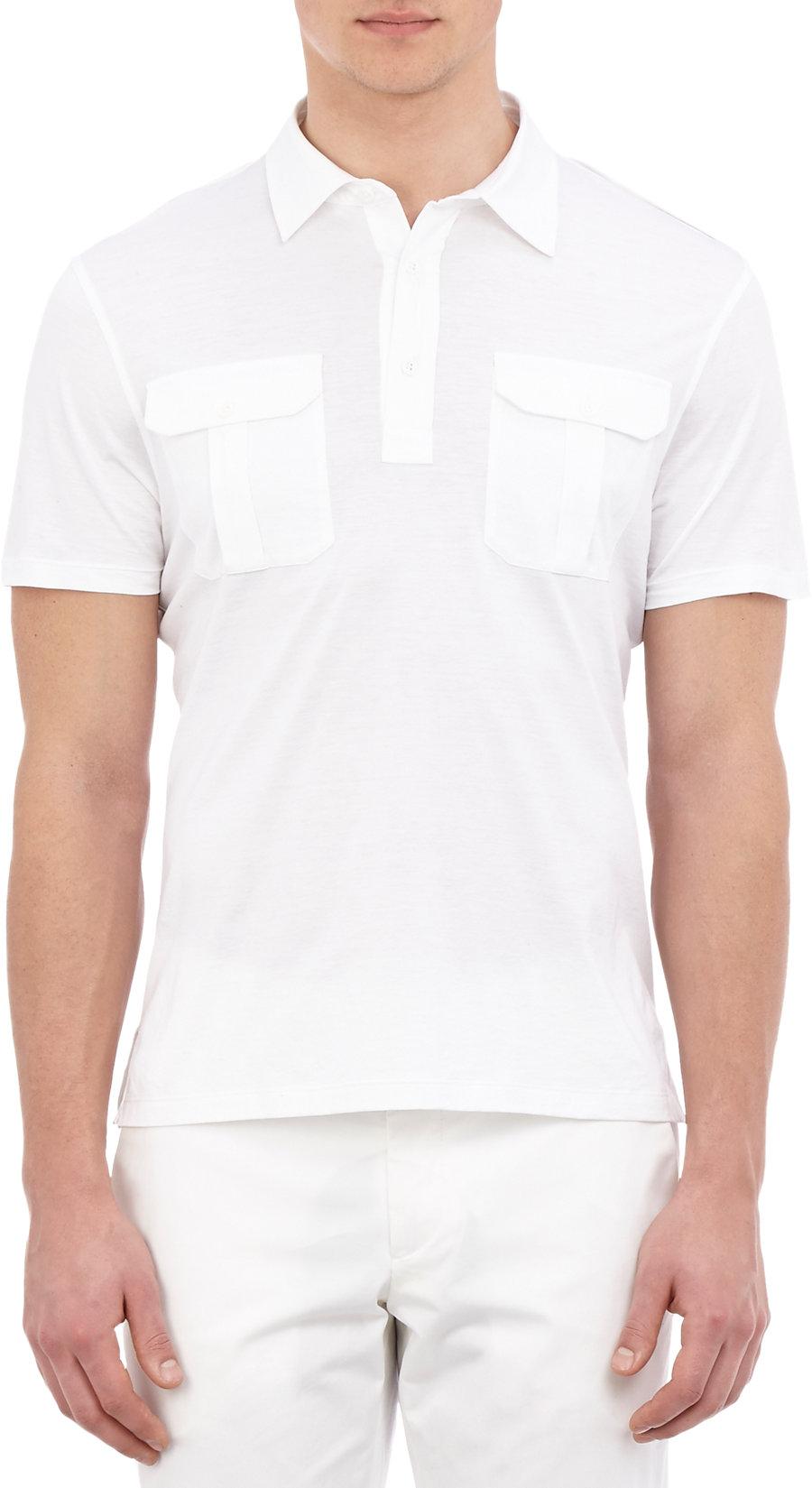 Ralph lauren black label epaulette polo shirt in white for for Ralph lauren black label polo shirt