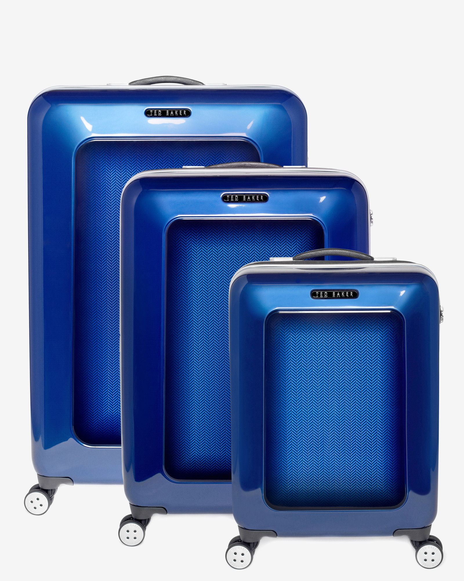 2e3c39cb9979 Ted Baker - Blue Herringbone 4-Wheel 79.5Cm Large Suitcase for Men - Lyst