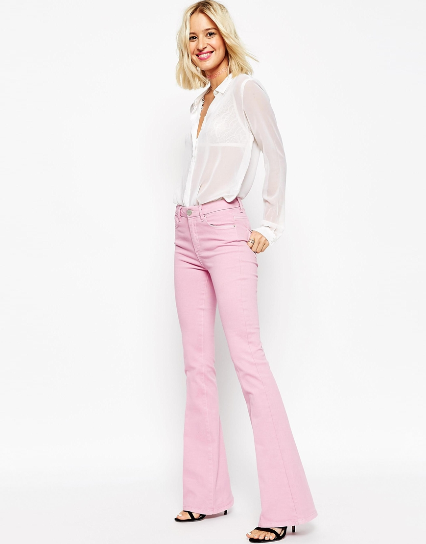 Asos Bell Flare Jeans In Pink in Purple | Lyst