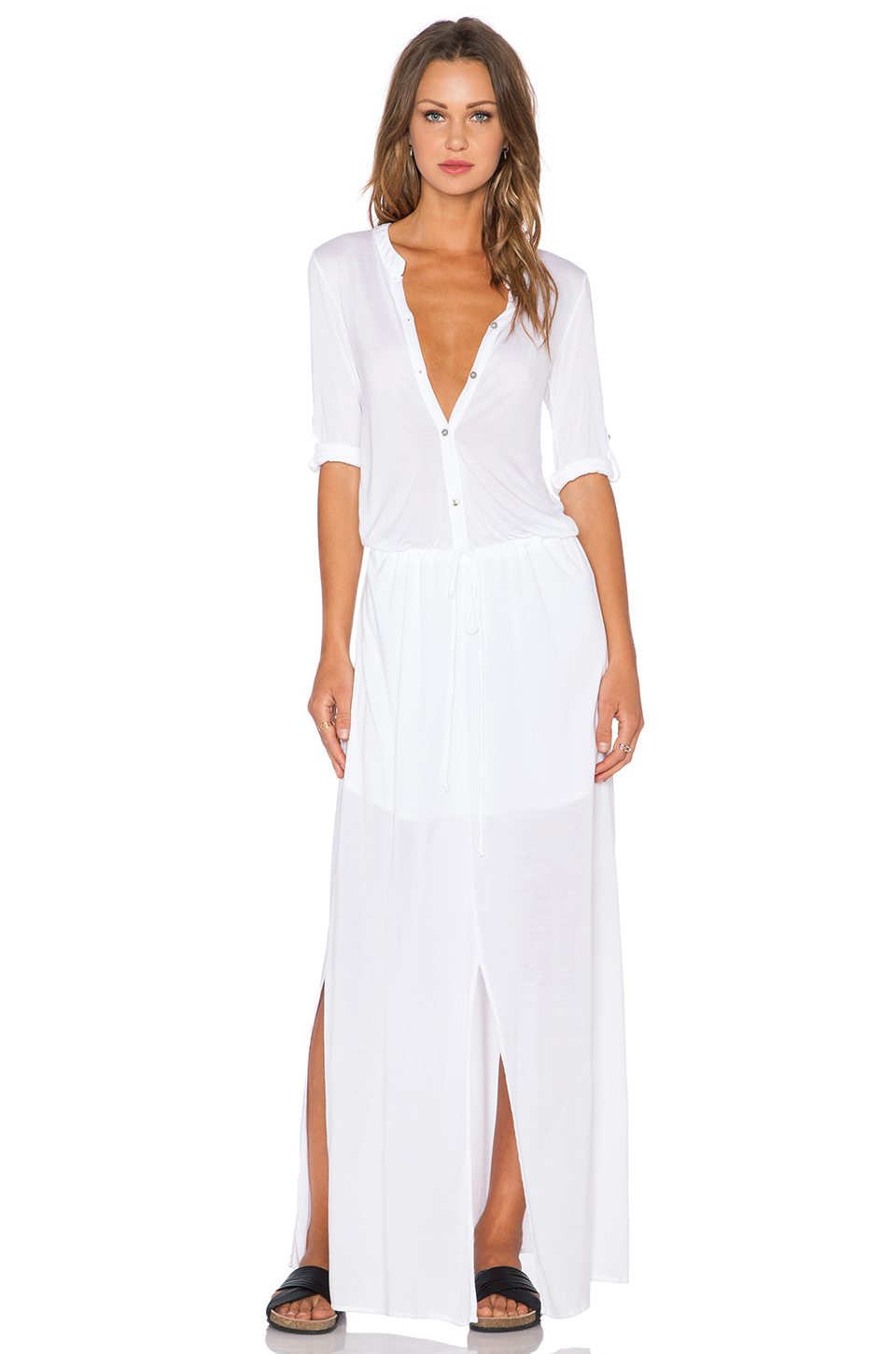 Michael stars 3 4 sleeve maxi shirtdress in white lyst for Michael stars t shirts on sale