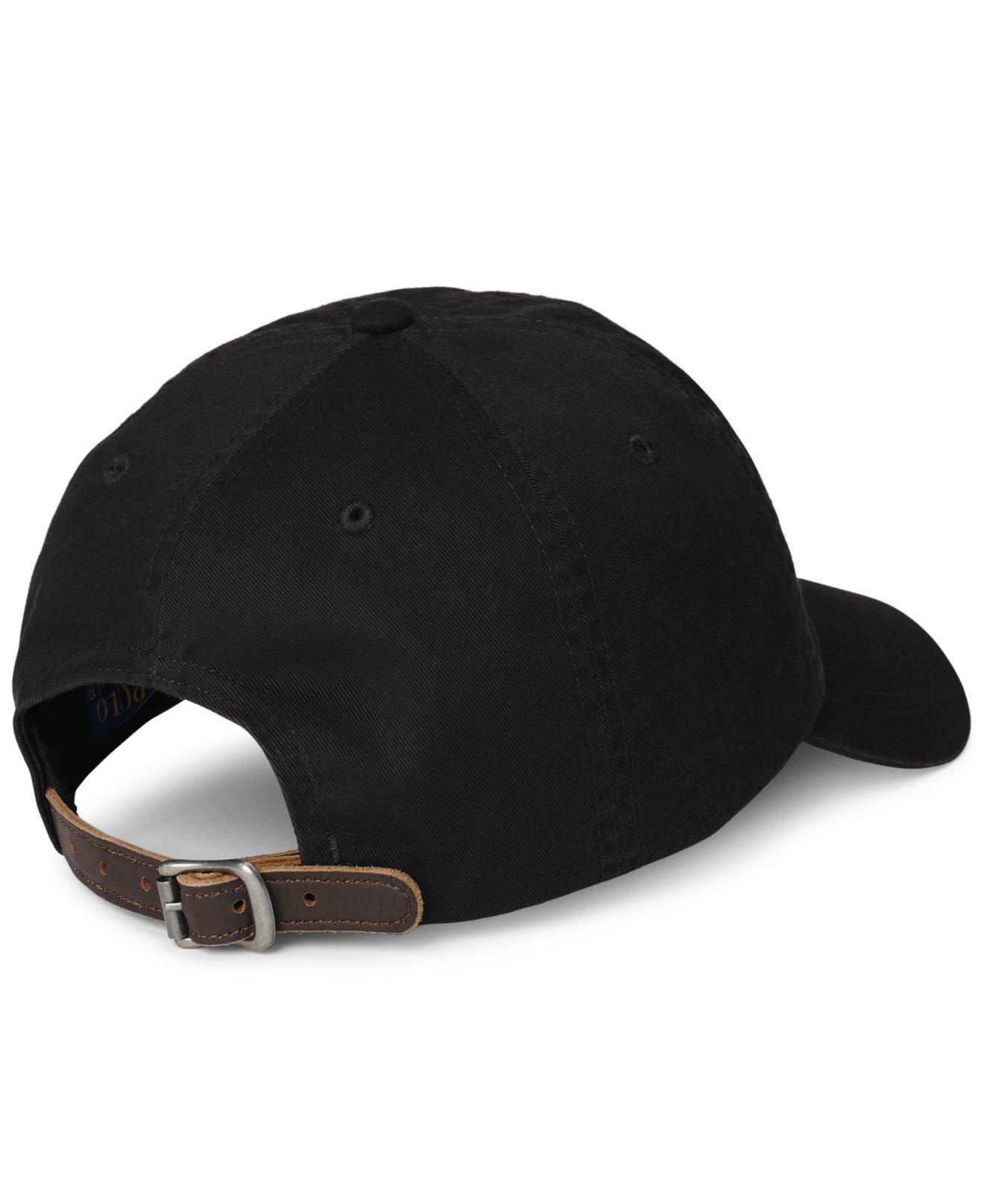 polo ralph lauren men 39 s chino sports cap in black for men. Black Bedroom Furniture Sets. Home Design Ideas